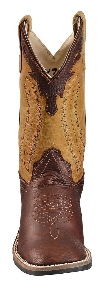 Old West Boys' Thunder Olive Cowboy Boots, Oiled Rust, hi-res