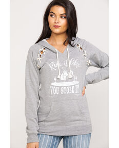 Rock & Roll Cowgirl Women's Grey Ride It Like You Stole It Hoodie, Grey, hi-res