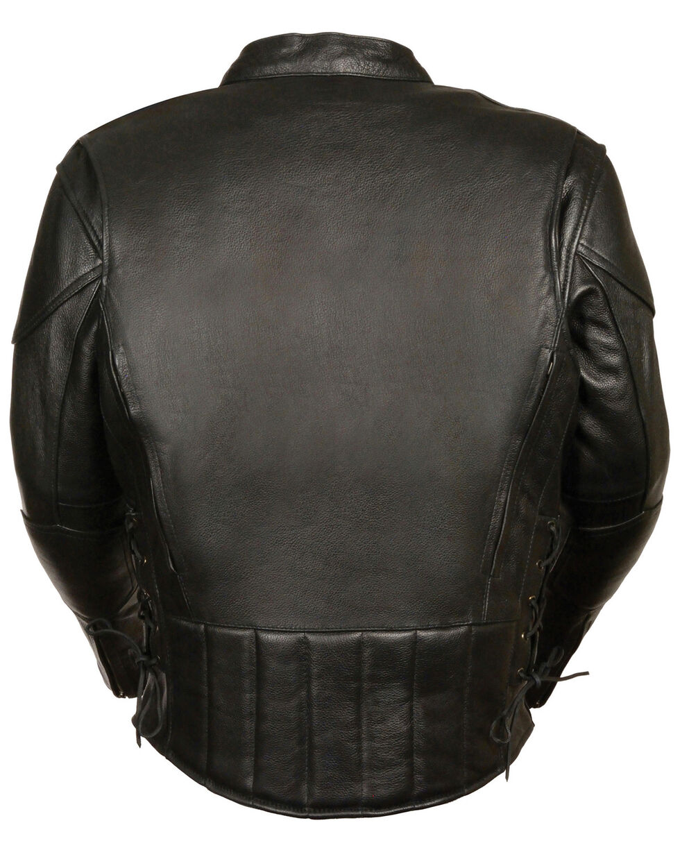 Milwaukee Leather Men's Side Lace Vented Scooter Jacket - 5X, Black, hi-res