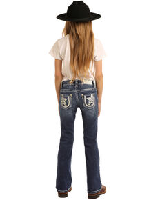 Rock & Roll Denim Girls' Star & Horseshoe Medium Bootcut Jeans, Blue, hi-res