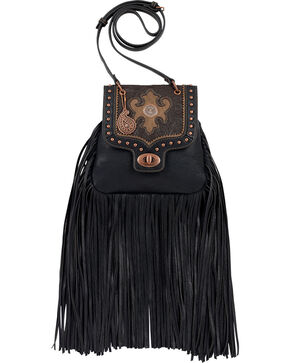 Bandana by American West Winslow Collection Fringe Crossbody Flap Bag, Black, hi-res