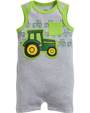 John Deere Infant Boys' Grey Tractor Romper , Grey, hi-res