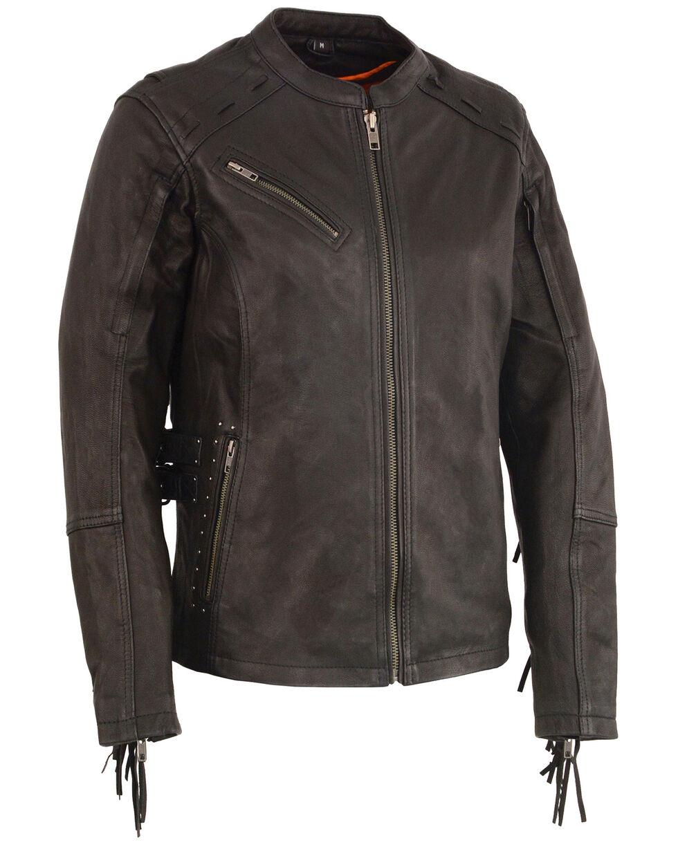 Milwaukee Leather Women's Fringe Lightweight Scuba Racer Jacket - 4X, Black, hi-res