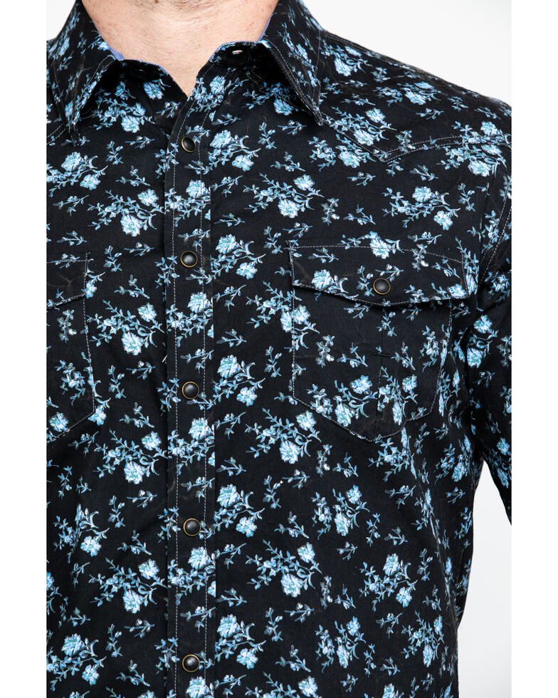 Rock & Roll Denim Men's Crinkle Floral Print Long Sleeve Western Shirt , Blue, hi-res
