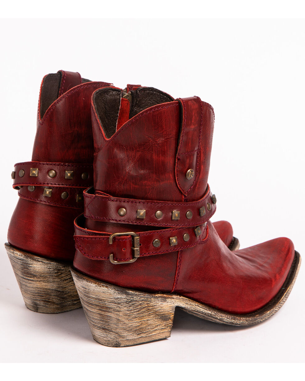 Liberty Black Women's Volcano Tinto Studded Harness Booties - Pointed Toe , Red, hi-res