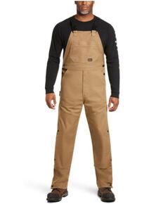 Ariat Men's Field Khaki Rebar Duracanvas Unlined Bib Work Overalls  , Beige/khaki, hi-res