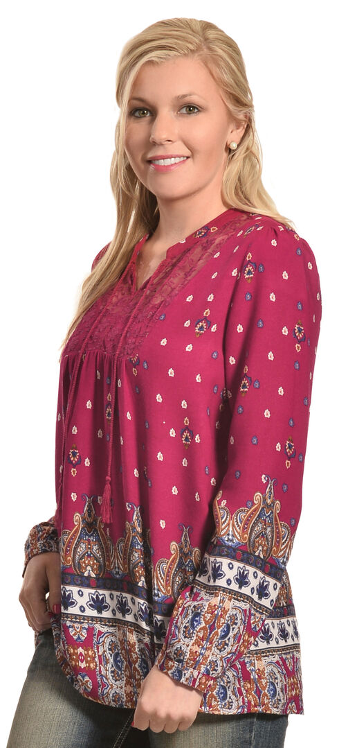Tantrums Women's Red Berry Border Print Shirt , Dark Red, hi-res