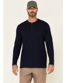 Hawx Men's Navy Thermal Henley Long Sleeve Work Shirt, Navy, hi-res