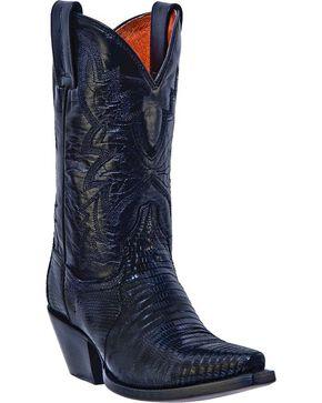 Dan Post Shiloh Lizard Cowgirl Boots - Snip Toe, Black, hi-res