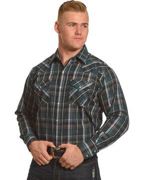 Ely Cattleman Men's Mallard Textured Plaid Shirt, Green, hi-res