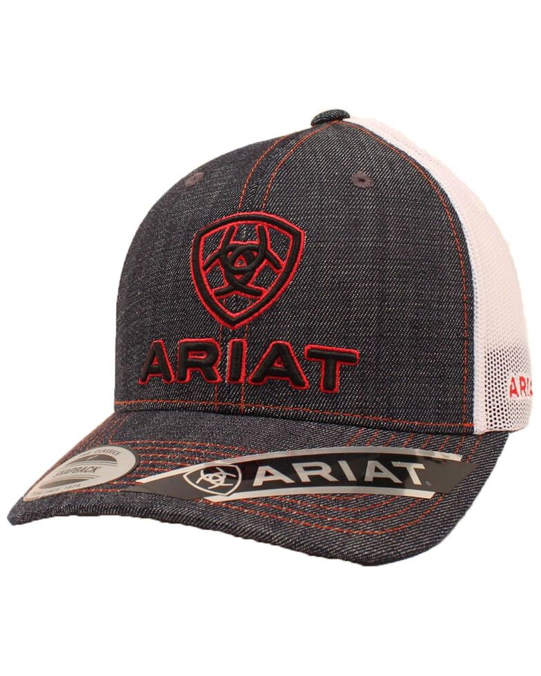 Ariat Men's Denim Logo Mesh Back Baseball Cap , Blue/red, hi-res