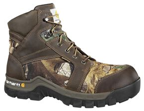 "Carhartt Waterproof Camo 6"" Lace-Up Work Boots - Composition Toe, Camouflage, hi-res"