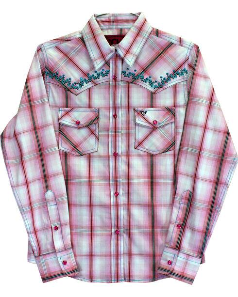 Cowgirl Hardware Girls' Vine Trim Rhinestone Long Sleeve Shirt, Pink, hi-res