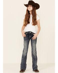 Grace In LA Girls' Medium Wash Embroidered Border Pocket Bootcut Jeans , Blue, hi-res