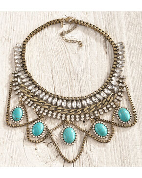 Shyanne Women's Statement Crystal Turquoise Bib Necklace, Gold, hi-res