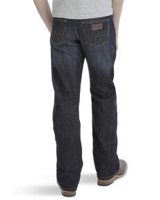 Wrangler Retro Boys' Dark Relaxed Bootcut Jeans , Blue, hi-res
