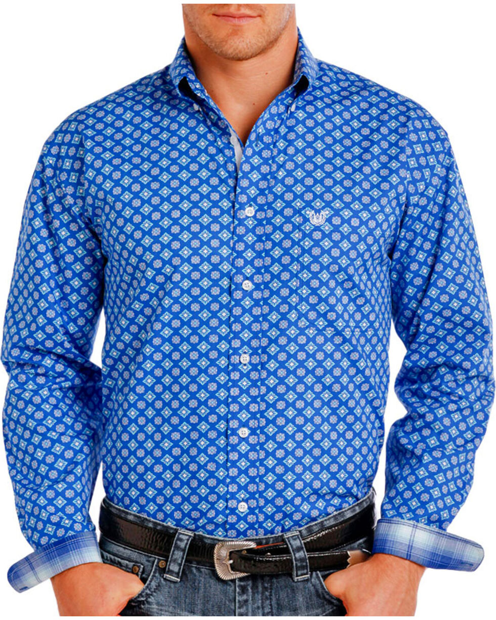 Rough Stock by Panhandle Men's Blue Geo Patterned Western Shirt , Blue, hi-res