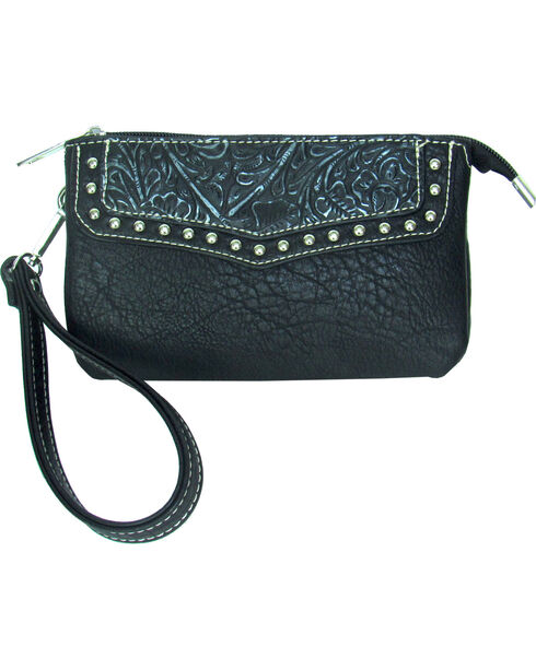Savana Women's Faux Leather Clutch Zip Wristlet , , hi-res