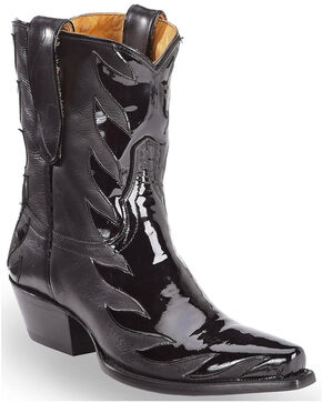Liberty Black Women's Black Patent Kingdom Short Boots - Snip Toe, Black, hi-res