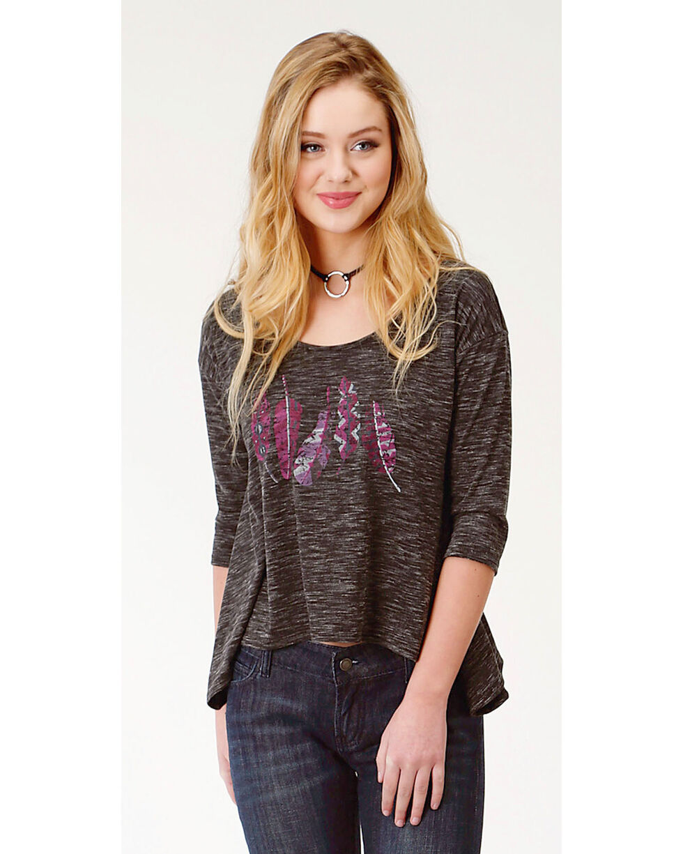 Roper Women's Black Feather Print Tunic , Black, hi-res
