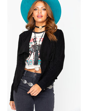 Miss Me Suede Drape Front Jacket , Black, hi-res