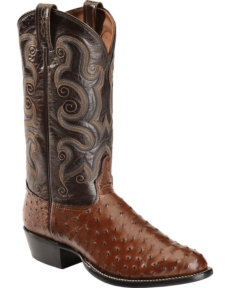 Tony Lama Men's Full Quill Ostrich Cowboy Boots - Round Toe, Coffee, hi-res