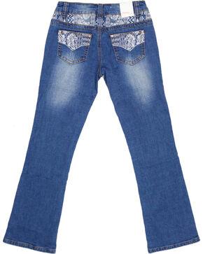 Shyanne Girls' Embroidered Bootcut Jeans, Dark Blue, hi-res