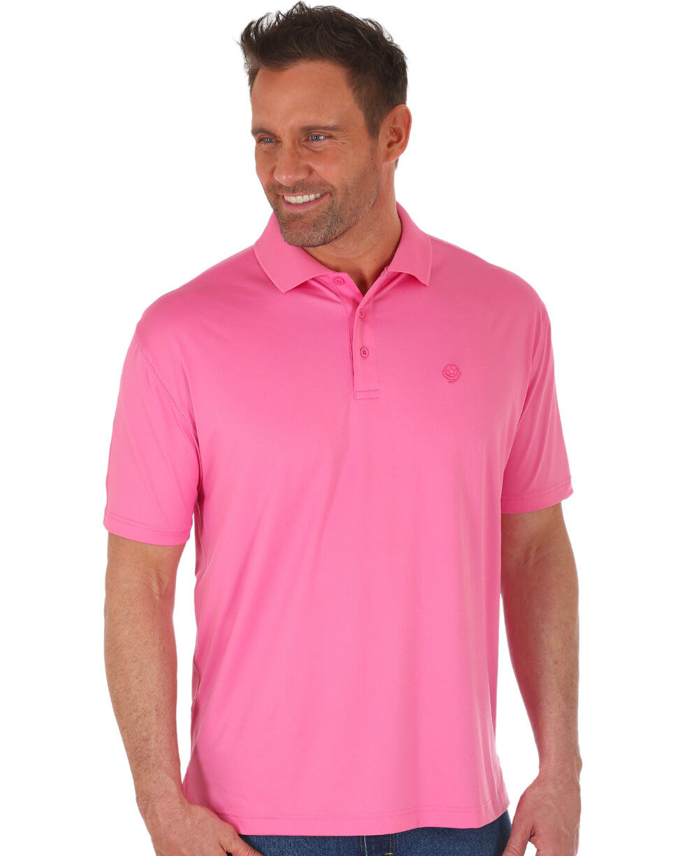 George Strait by Wrangler Men's Pink Performance Polo , Pink, hi-res