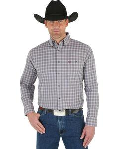 Wrangler George Strait Men's White Wine Plaid Shirt, Wine, hi-res