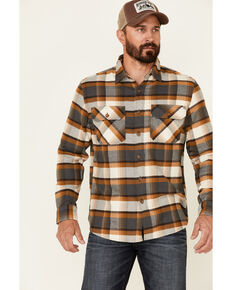 Pendleton Men's Slate Burnside Large Plaid Long Sleeve Button-Down Western Flannel Shirt , Slate, hi-res