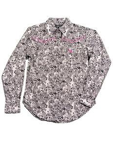 Cowgirl Hardware Girls' Black White Floral Print Long Sleeve Western Shirt, Black, hi-res