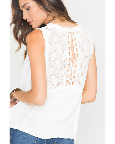 Miss Me Natural Frayed Open Back Tank Top , Natural, hi-res