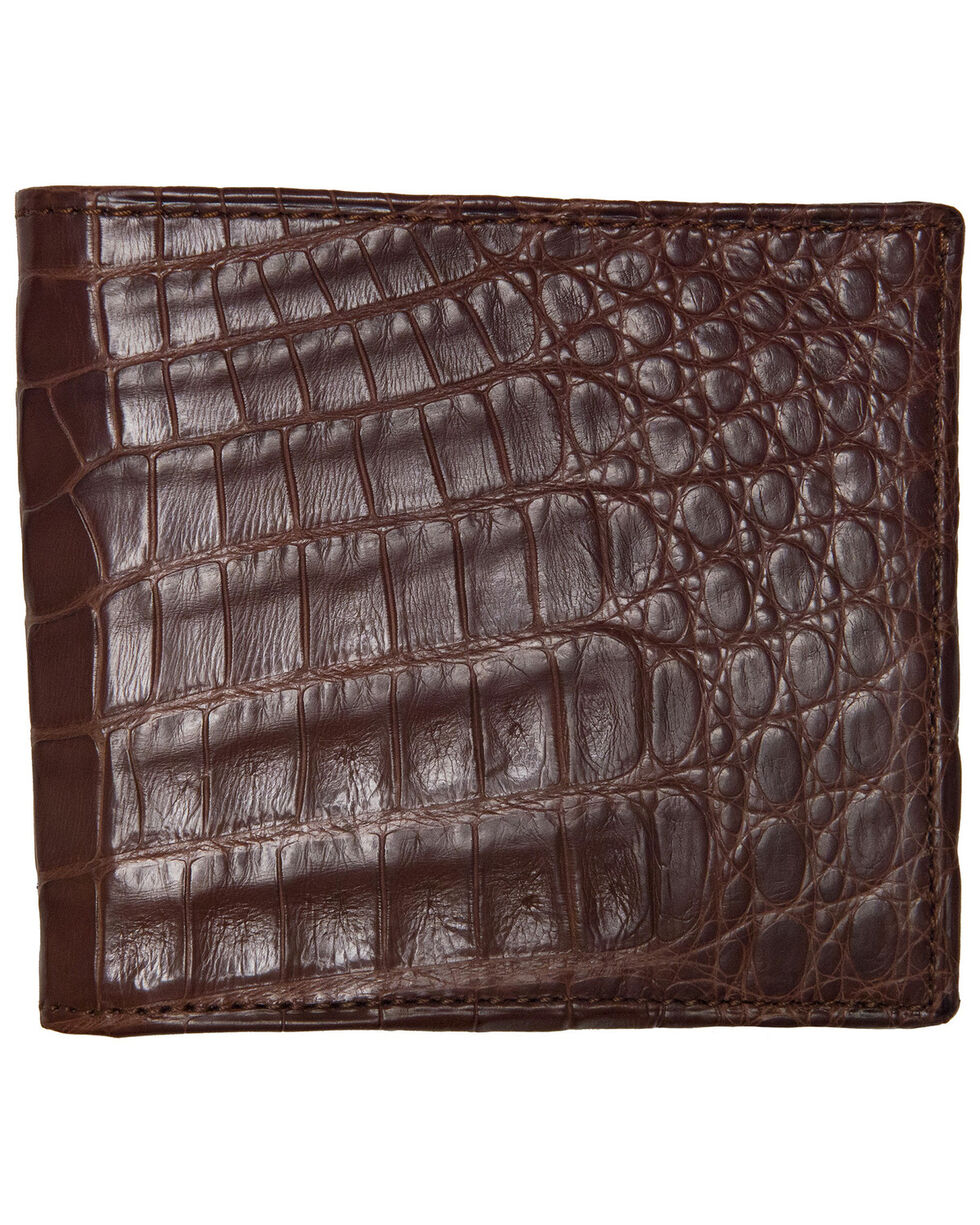 Lucchese Men's Sienna Crocodile Hipster Wallet, Brown, hi-res