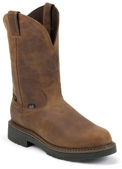 Justin J-Max Waterproof Pull-On Work Boots -  Round Toe, Aged Bark, hi-res