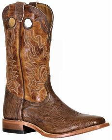 Boulet Men's Cognac Western Boots - Wide Square Toe, Cognac, hi-res