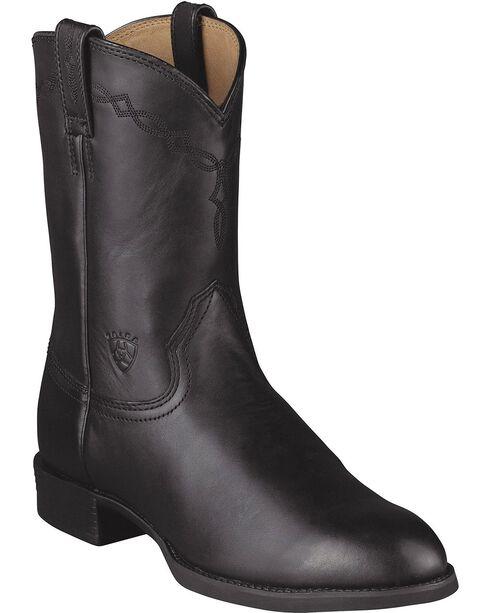 Ariat Heritage Roper Cowboy Boots, Black, hi-res