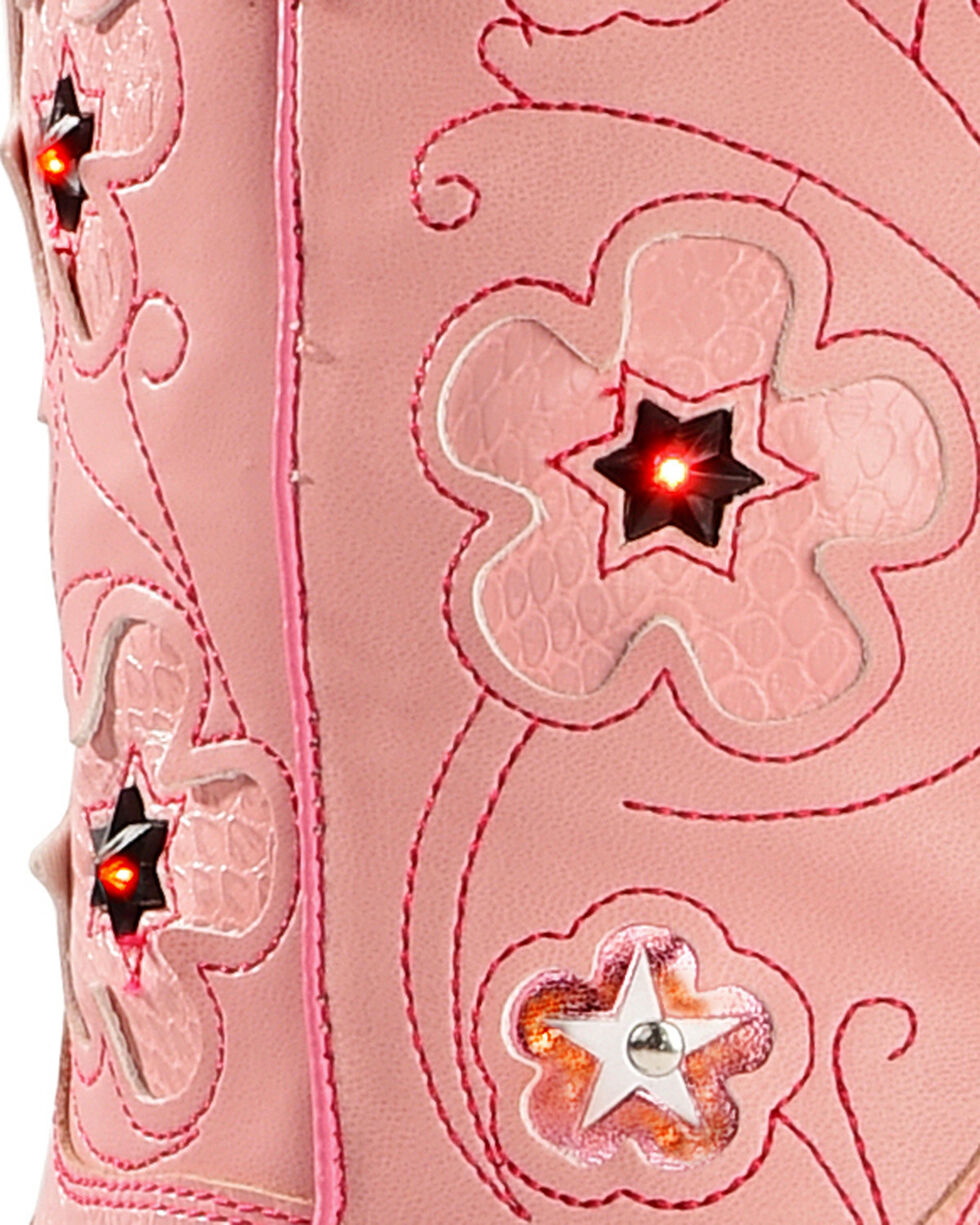 Roper Girls' Light Up Cowgirl Boots, Pink, hi-res