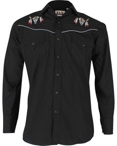 Ely Cattleman Men's Black Bull Skull Embroidered Long Sleeve Western Shirt , Black, hi-res