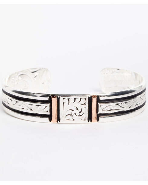 Montana Silversmiths Women's Silver Rose Gold Bars Cuff Bracelet, Silver, hi-res