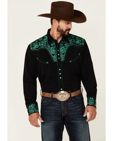 Scully Men's Emerald Embroidered Gunfighter Long Sleeve Snap Western Shirt , Black, hi-res