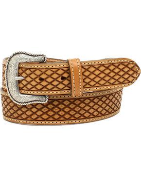 Nocona Men's Huntsville Natural Crosshatch Leather Belt, Natural, hi-res