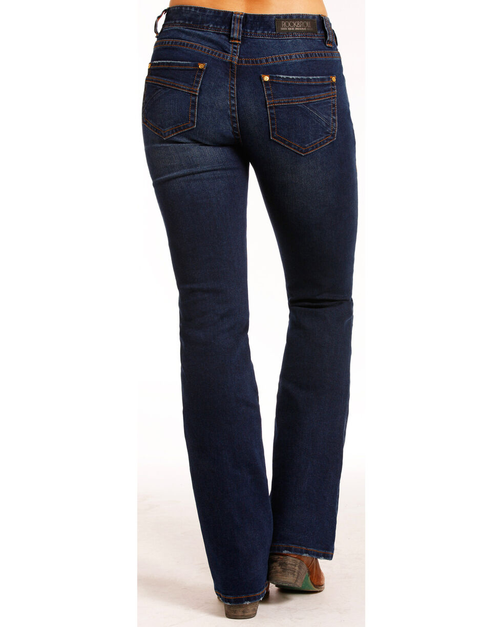 Rock & Roll Cowgirl Women's Dark Vintage Wash Boot Cut Jeans , Indigo, hi-res