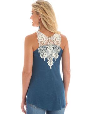Wrangler Women's Blue Crochet Trim Sleeveless Top , Blue, hi-res