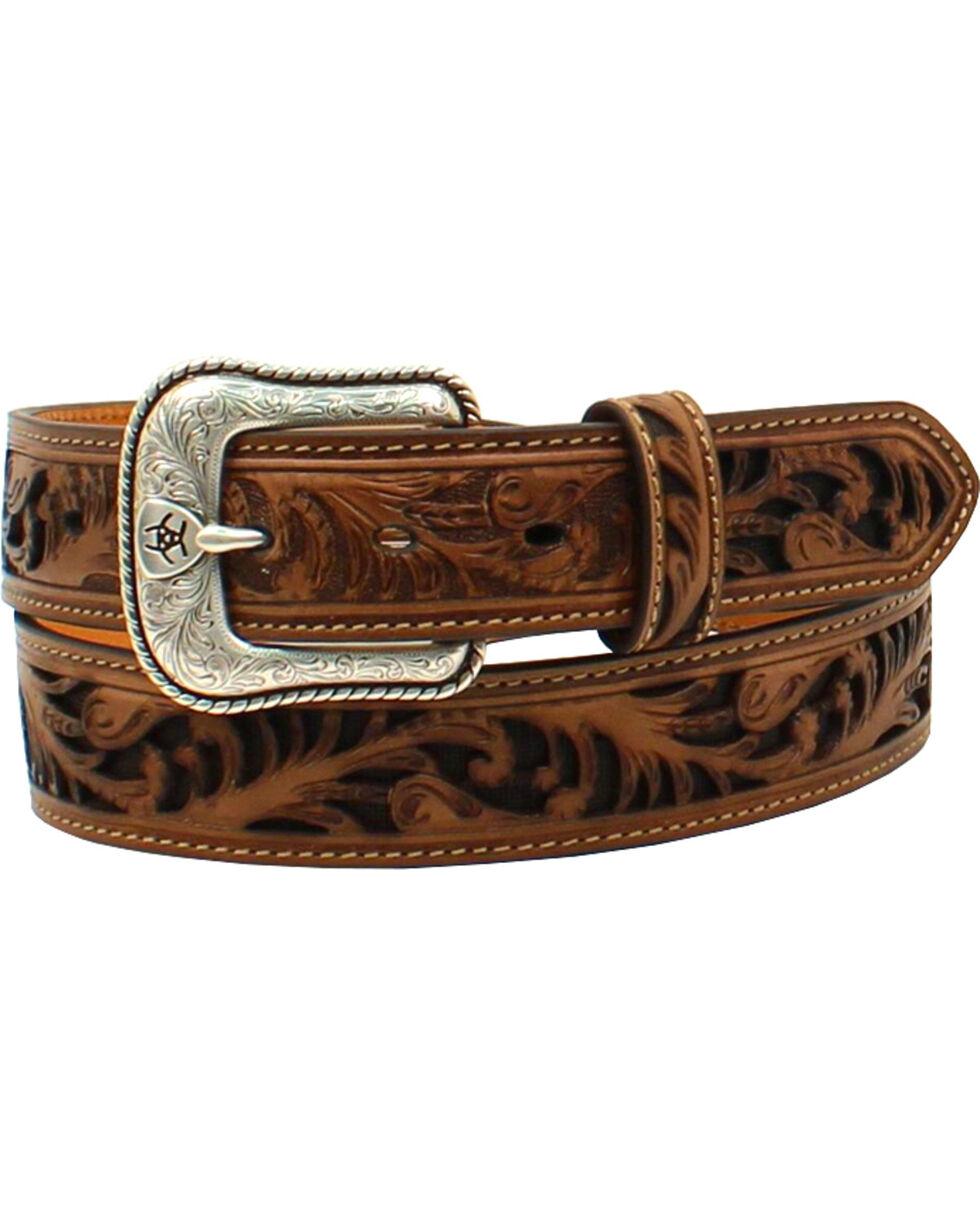 Ariat Men's Floral Pierced Shield Rope Belt , Tan, hi-res