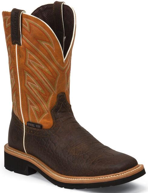 Justin Original Work Boots Stampede Work Boots - Square Steel Toe , Chestnut, hi-res