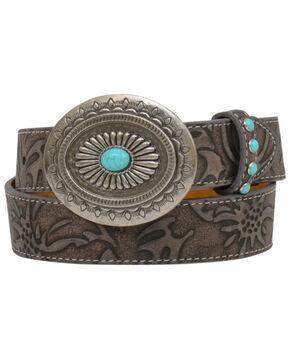Shyanne Girls' Brown Floral Turquoise Stud Buckle Belt, Brown, hi-res