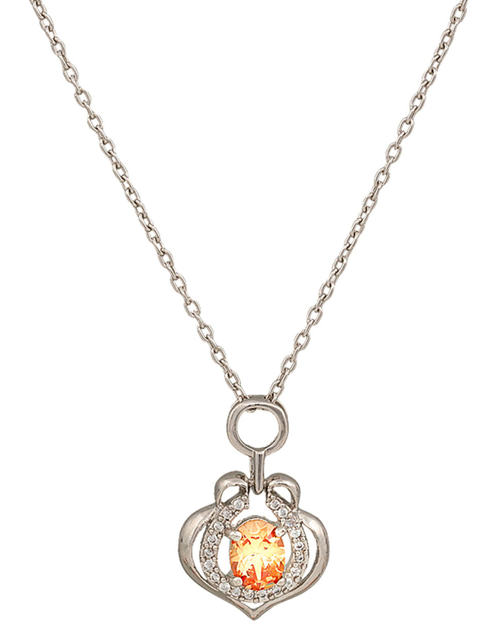 Montana Silversmiths River Lights Hoofprint in the Sunset Necklace, Peach, hi-res