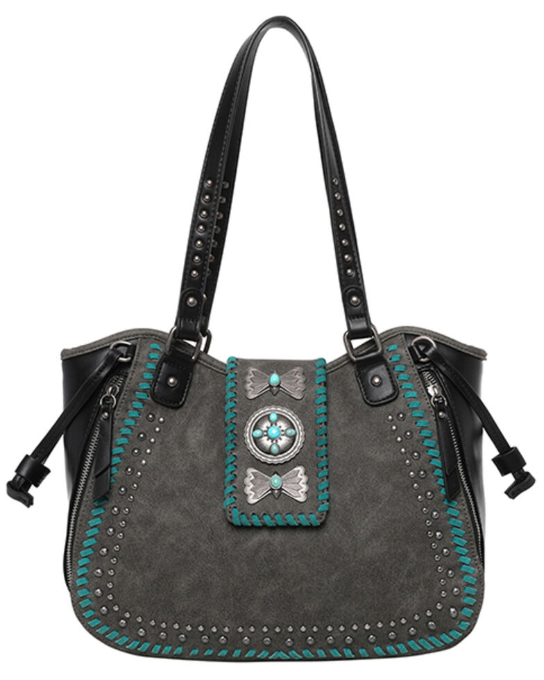Montana West Women's Wrangler Butterfly Concho Tote Bag, Black, hi-res