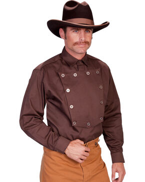 Wahmaker by Scully Twill Cavalry Shirt, Brown, hi-res
