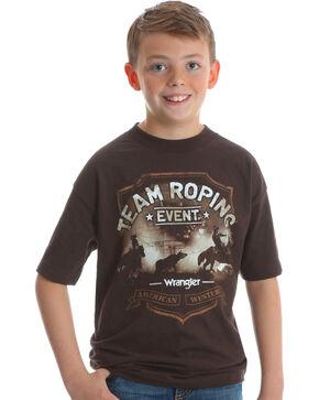 Wrangler Boys' Brown Team Roping Graphic Tee , Brown, hi-res